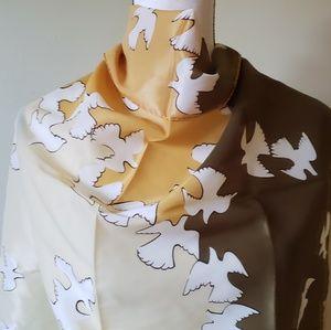 Vintage Silk Olive Gold Square Doves Birds Scarf